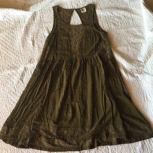 Anthropologie Green Cutout Dress